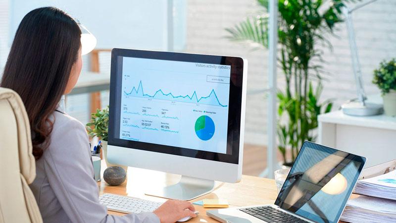Mujer mirando reportes en su computadora con Rodio Consulting
